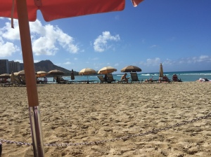View from a beach chair at The Royal Hawaiian Hotel